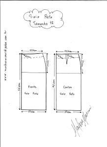 Esquema de modelagem de saia reta tamanho 42.