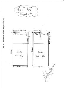 Esquema de modelagem de saia reta tamanho 44.