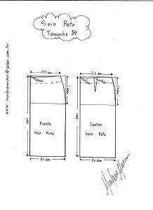 Esquema de modelagem de saia reta tamanho 54.