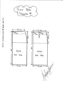 Esquema de modelagem de saia reta tamanho 56.