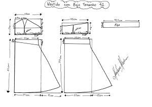 Molde do Vestido com Bojo tamanho 42.