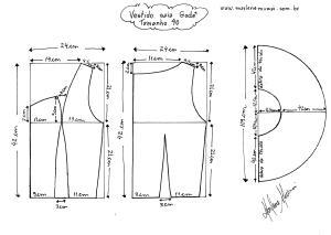 Molde do Vestido de Saia Godê tamanho 40.