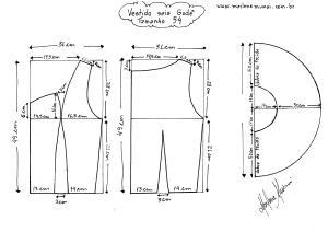 Molde do Vestido de Saia Godê tamanho 54.