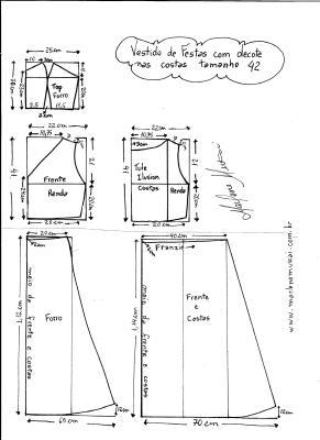 Esquema de modelagem de Vestido com decote nas costas tamanho 42.