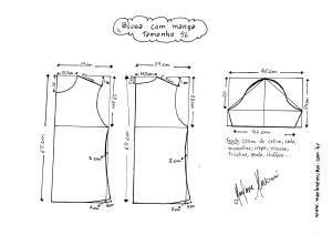 Esquema de modelagem de Blusa Básica tamanho 46.