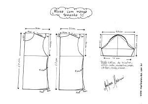 Esquema de modelagem de Blusa Básica tamanho 50.