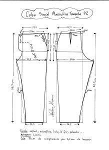 Esquema de modelagem de calça social masculina tamanho 42.