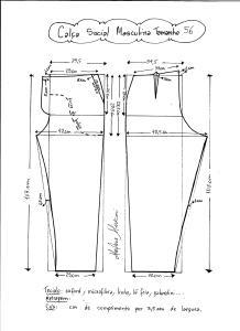 Esquema de modelagem de calça social masculina tamanho 56.