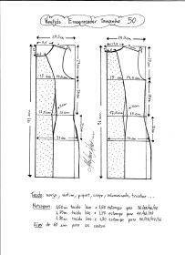 Esquema de modelagem de vestido tubinho que afina a silhueta tamanho 50.