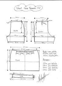 Esquema de modelagem de short saia tamanho 52.