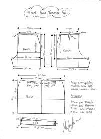 Esquema de modelagem de short saia tamanho 56.