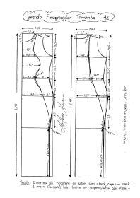 Esquema de Modelagem de Vestido que afina a Silhueta 2 tamanho 42.