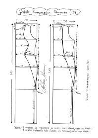 Esquema de Modelagem de Vestido que afina a Silhueta 2 tamanho 44.