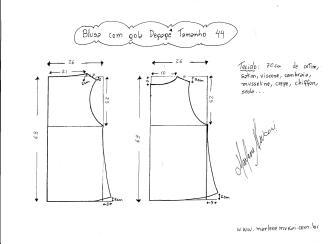 Esquema de modelagem de Blusa com gola Degagê tamanho 44.