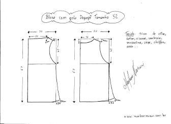 Esquema de modelagem de Blusa com gola Degagê tamanho 52.