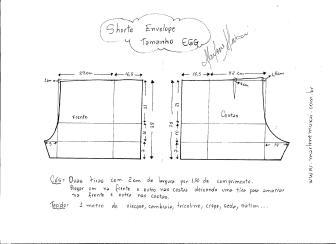 Esquema de modelagem de short envelope tamanho EGG.