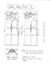 Esquema de Modelagem de Vestido Eliana tamanho 48.