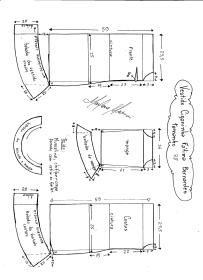 Esquema de modelagem de Vestido Ciganinha Fátima Bernardes tamanho 38.