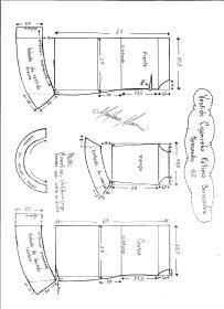 Esquema de modelagem de Vestido Ciganinha Fátima Bernardes tamanho 42.
