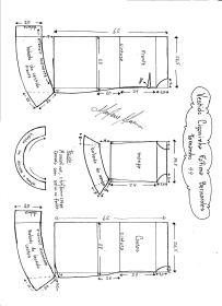 Esquema de modelagem de Vestido Ciganinha Fátima Bernardes tamanho 44.