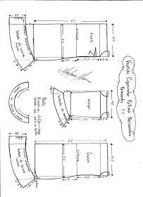 Esquema de modelagem de Vestido Ciganinha Fátima Bernardes tamanho 54.