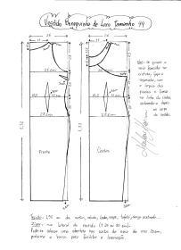 Esquema de modelagem do Vestido Bonequinha de Luxo tamanho 44.