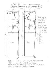 Esquema de modelagem do Vestido Bonequinha de Luxo tamanho 48.