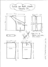 Esquema de modelagem de Vestido com decote Cruzado tamanho 54.