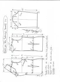 Esquema de modelagem de blazer com gola tradicional tamanho 54.