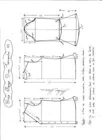 Esquema de modelagem de Blusa com Manga Sino tamanho 44.
