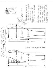 Esquema de modelagem de calça Swag tamanho GG.
