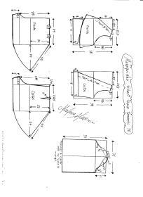 Esquema de modelagem de Macaquinho com short saia godê tamanho 36.