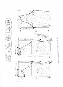 Esquema de modelagem de blusa de malha de manga raglan tamanho EGG.
