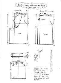 Esquema de modelagem de bata com manga 3/4 tamanho 46.