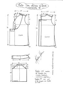 Esquema de modelagem de bata com manga 3/4 tamanho 48.