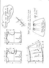 Esquema de modelagem de vestido com manga japonesa e prega macho tamanho 40.