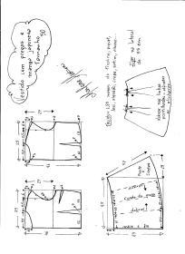 Esquema de modelagem de vestido com manga japonesa e prega macho tamanho 50.