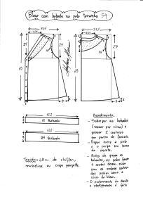 Esquema de modelagem de blusa com pala e babado tamanho 54.