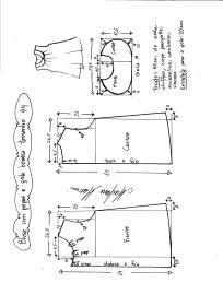 Esquema de modelagem de blusa com pregas e gola boneca tamanho 44.