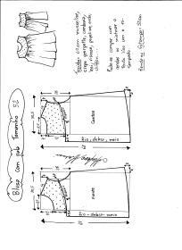 Esquema de modelagem de blusa com pala e renda tamanho 52.