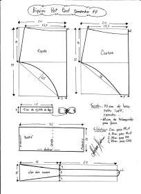 Esquema de modelagem de biquíni hot pant tamanho PP.