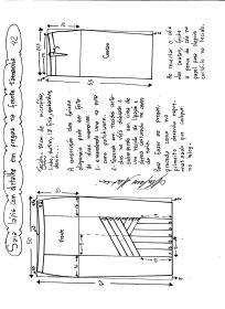 Esquema de modelagem da saia lápis com pregas na frente 42.