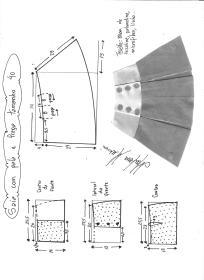 Esquema de modelagem de saia com pala e pregas fêmea tamanho 40.