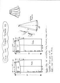 Esquema de modelagem de saia com nesgas e cós anatômico tamanho 40.