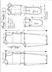 Esquema de modelagem de macacão pijama tamanho G.