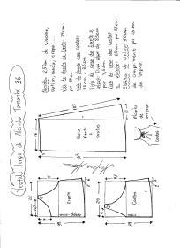 Esquema de modelagem de vestido de alcinha tamanho 36.