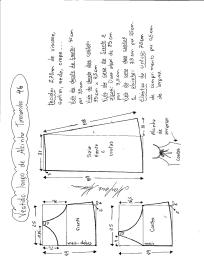 Esquema de modelagem de vestido de alcinha tamanho 46.