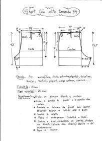 Esquema de modelagem de short cintura alta tamanho 54