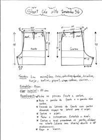 Esquema de modelagem de short cintura alta tamanho 56.
