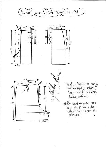 Esquema de modelagem de short com botões na frente tamanho 48.